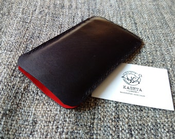 iPhone 6 6s 7 leather sleeve, leather pouch 'Black'