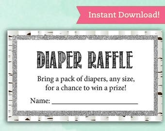 Woodland Diaper Raffle Shower Cards - Baby Shower Game - Digital Instant Download - Whitewash Glitter Forest Bring pack diapers for Baby