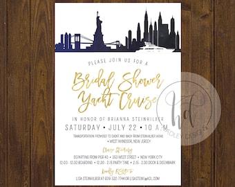 Classic Wedding Invitation, Elegant Wedding Invitation, Blue and Gold Wedding Invitation, Wedding Invite, Modern Wedding Invitation