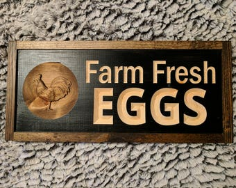 Carved FARM FRESH EGGS Signs with 3D carving, Farm Sign, 3d Sign, Farmhouse Sign