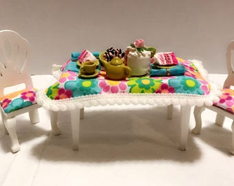 Dollhouse furniture Miniature Kitchen / Dining Room Table and pair of chairs with handmade food