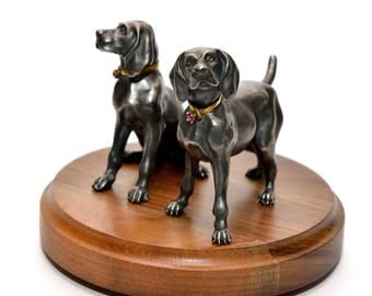 "Silver Business Card Holder ""Labradors"""