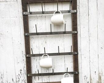 Mug Rack - Cup Rack - Drying Rack - Metal Mug Rack - Wood Mug Rack - Coffee Bar - Coffee Station - Farmhouse Decor - Simply Inspired - Large