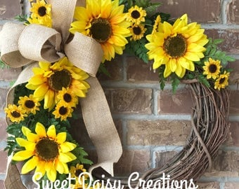 Sunflower Grapevine Wreath,  Sunflower Wreath, Spring Grapevine Wreath, Spring Sunflower Grapevine Wreath, Spring Sunflower Wreath, Spring