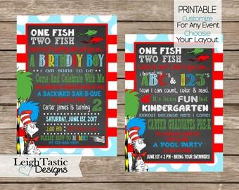 SALE Printable Dr Seuss Graduation, Dr Seuss Invitation, Dr Seuss Party, Seussville Graduation Invitation, Graduation Party, Kindergarten