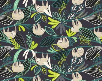Blend Rainforest Slumber Lazing Sloth Fabric - Green *PRE-SALE* Ships October 2017