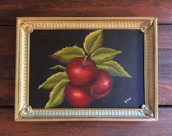 Small Original Painting  / Antique Metal Frame / Vintage Wall Hanging / A Group of Apples