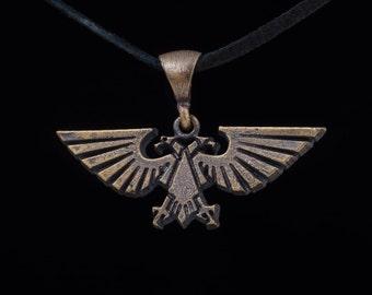 Warhammer 40k Imperial Aquila Pendant, brass, handmade