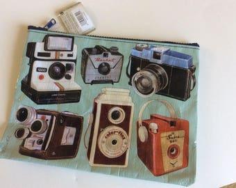 Camera Zipper Pouch: Blue Q, travel pouch, art supplies storage, Junk Journal, Mixed Media