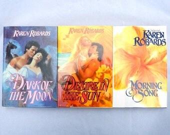 Karen Robards Dark of the Moon, Desire in the Sun, Morning Song Three Hardcover Romance Novels