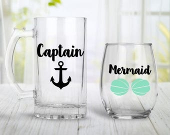 Captain and Mermaid Glass Set, Engagement Gift For Couples, Engagement Wine Glass, Custom Mug, Custom Wine Glass, Stemless Wine Glass,