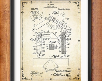 Architectural Wall Decor - Gift for Architect Drafting Tool - Compass Patent Print - Vintage Architect Tool - Technical Drawing - 1365