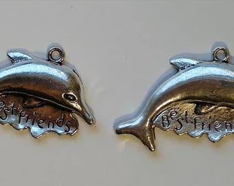 """Silver """"Best Friends"""" Dolphin Pendants"""