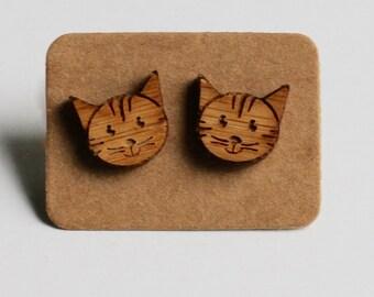 Wooden lasercut kitty kat stud earrings