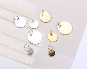5PCS 925 Sterling Silver Stamp Gold Initial Charms Silver Stamping Blanks Coin Disc Charm Circle Round Charm Jewelry Marking Supplies