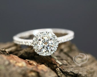 FOREVER ONE Certified 5mm/0.50 Carats Round D-F Color Moissanite 14K White Gold Diamond Halo Engagement Ring (Other Metal & Stone Available)
