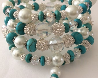 White Pearl & Silver bracelet, Turquoise beaded bracelets, Crystal Wrap Bracelet, pearl wrap bracelet, Bridal jewelry, gifts for her, Brides