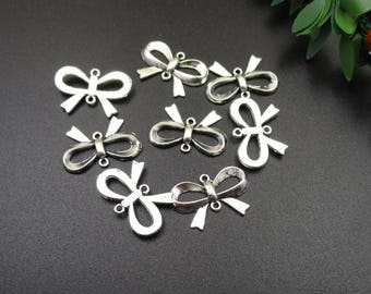 20Pcs 21x15mm Silver Bow Connector Charms-p1750-B
