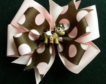 Cowgirl Horse Pinwheel Boutique Hair Bow, Horse Accessories. Pink and Brown Bow