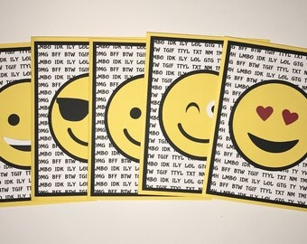 Handmade Set of 5 EMOJI Cards, Emoji's, Smile, Happy Smiley Faces
