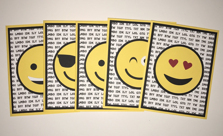 handmade set of 5 emoji cards emoji's smile happy