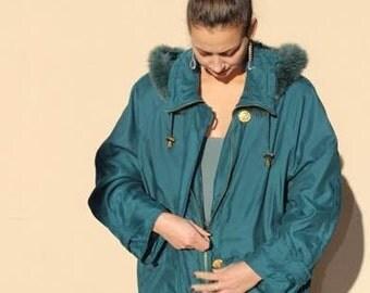 Eskimo / Guy Laroche / hooded coat / Vintage / Parka green / size L M