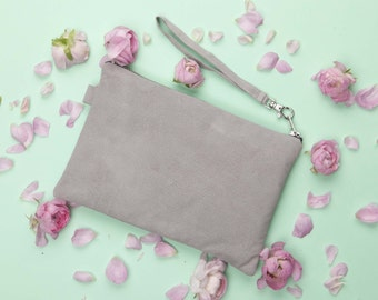 Grey Suede Clutch // Bridal Clutch // Leather Clutch Purse // Genuine Suede Bag // Evening Clutch // Suede Clutch