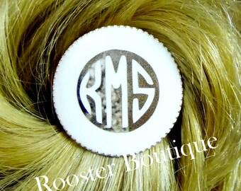 Monogram Pony Tail Holder, 1 inch Disc Hair accessories, Ponytail