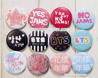 BTS / Bangtan Boys pins button kpop badges, No jams, dope, hangul, infires kpop pins buttons
