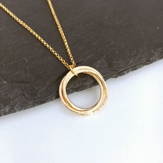 30th Birthday Gift Gold 3 Linked Ring Necklace Gold Russian