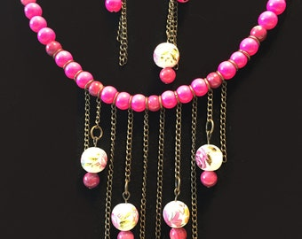 Necklace pink and bronze