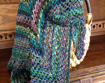 Lacy Multicolor Blues Triangle Shawl