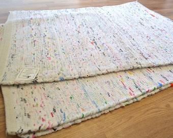 White Pastel Rug Cotton Handmade Rag Rug Runner 150x210cm / 180x240cm 5x7ft  / 6x8ft