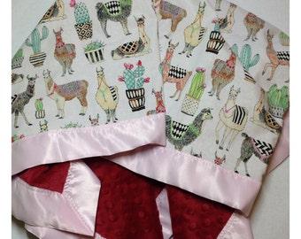 LLama baby blanket, receiving blanket, swaddler, security blanket, minky blanket, llama bedding, cactus blanket
