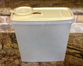 Vintage Tupperware Cereal Keeper - Clear Food Storage Container - Dry Storage Container, Clear Tupperware-Harvest Gold Lid, Store n Pour
