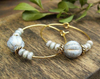 Gold and Blue Hoop Earrings, Rustic Powder Blue Picasso Czech Glass Hoops, Pale Blue Beaded Hoop Earrings, Light Blue Bohemian Hoops, Gift