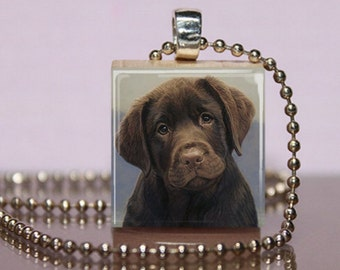 Chocolate Lab Scrabble Necklace Jewelry.  Chocolate Labrador Retriever Pendant. Lab Lover Charm.  Chocolate Lab Jewelry.  Lab Puppy .  #226