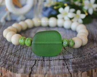 Cultured Sea Glass bracelet. Sea Glass Jewellery. Yoga. Beach jewelry. Crystal bracelet. Beach boho. Gift for her.