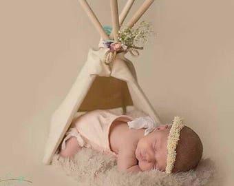 Boho - Newborn Teepee Photo prop - 24 inch teepee -natural canvas