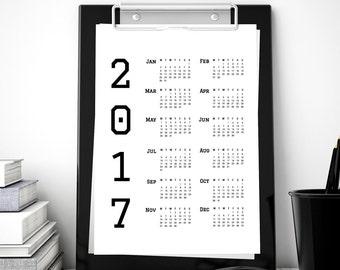2017 Calendar Printable Calendar, 2017 Desk Calendar Planner, Monochrome Digital Print Wall Art *Instant Download Printable PDF & JPG*
