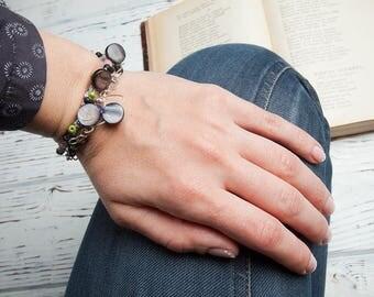 Black double strand bracelet, mother-of-pearl bracelet, knitted bracelet, wire wrapped multistrand bracelet, colorful boho jewelry, soroka
