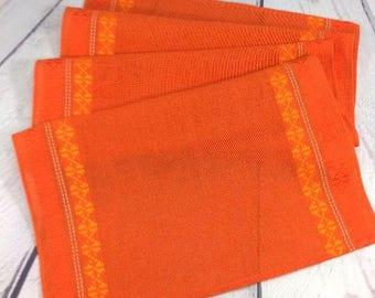 Orange Table Runner, Vintage Swedish Tablecloth, Woven Acrylic Striped Buffet Runner, Rustic Dresser Scarf, 1970s Retro Scandinavian Textile