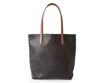 Black Leather Tote Bag // Simple Leather Bag // Black Leather Tote with Brown Straps