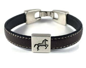Horse Bracelet - Leather Horse Lover Bracelet - Brown Leather Horse Bracelet -Horse Charm Bracelet - Horse Lover Gift - Equestrian Bracelet