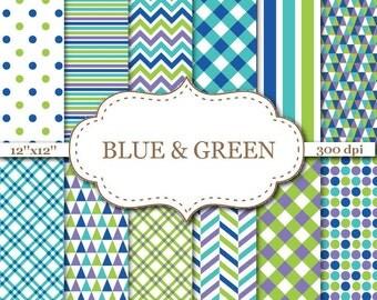 "BLUE & GREEN Geometric Digital Paper Pack Blue Green Chevron Stripes Dots Geometric pattern paper Instant Download 12""x12"" #P078"