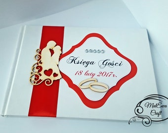 White/red guest book handmade