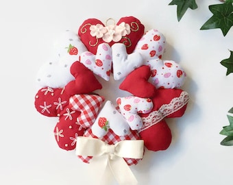 Hanging Heart Wreath / Stuffed Heart Wreath / Fabric Heart Wreath / Shabby Chic Hearts / Heart Wall Hanging