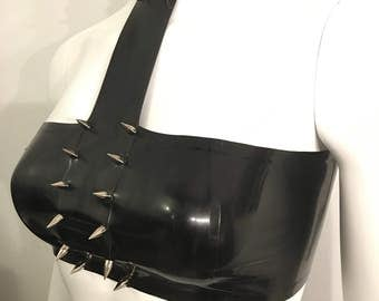 Latex spiked crop top