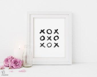 XOX > brush script typography print / love / wedding / engagement / anniversary / valentine / scandi gift