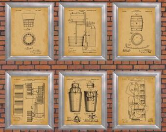 Patent Prints Set of 6 Barroom Decoration Restaurant Artwork Wet Bar Wall Art Man Cave Posters Micro Brewery Decor Moonshine Print PP 10604